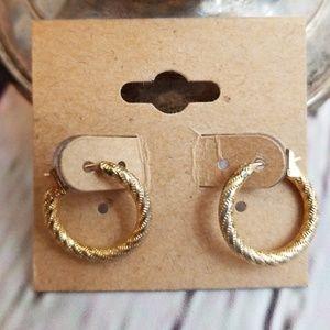 Monet Vintage Small Gold Hoop Earrings